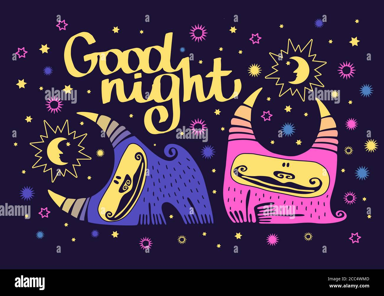 Cute Animals Kawaii Monsters With Horns Girl And Boy Monsters On A Background Of The Starry Sky Wish Good Night Sun And Moon Lettering Stock Vector Image Art Alamy