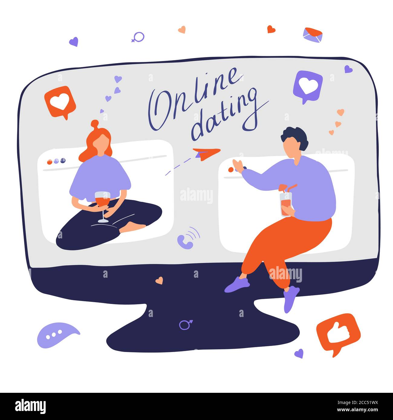 Internet dating. Internet flirting and relationships. Mobile service, application for meeting foreigners. Flat vector illustration Stock Vector