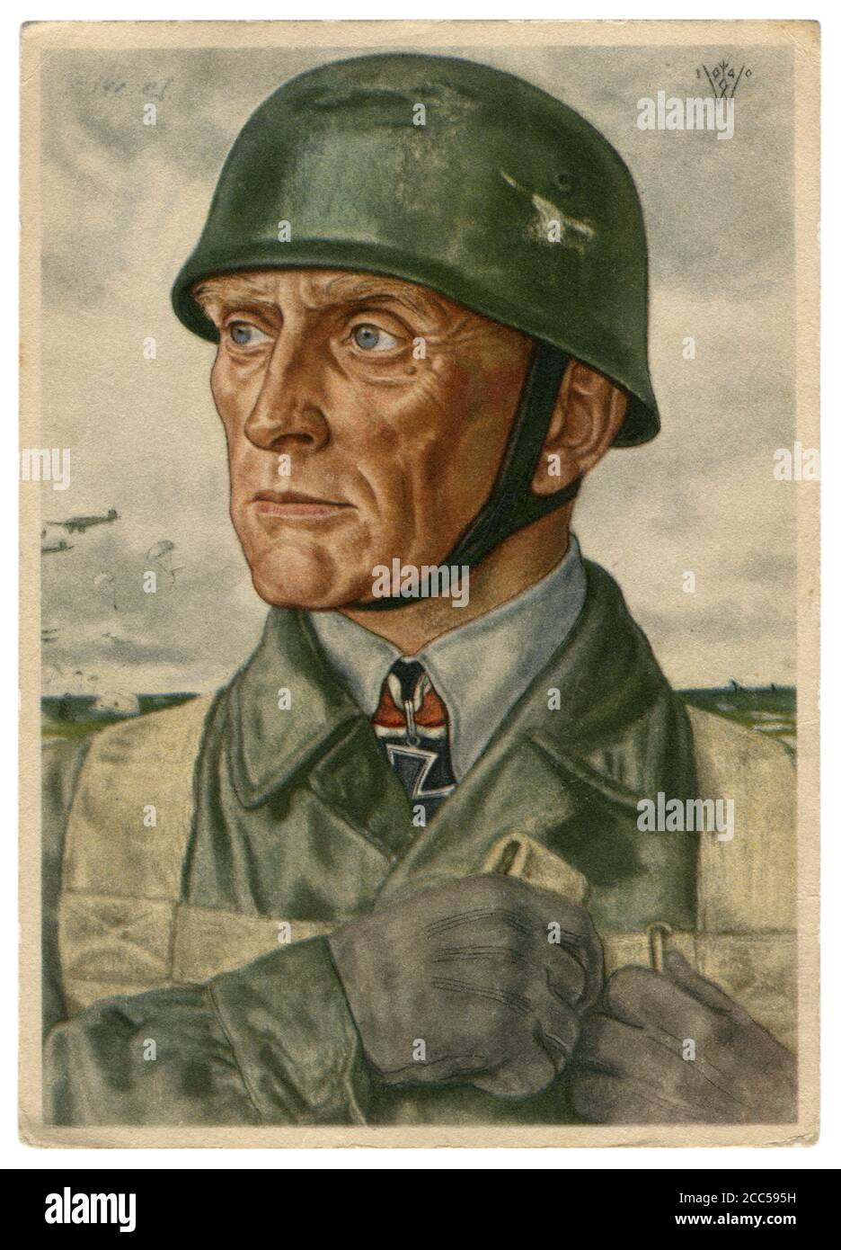 German historical postcard: Bruno Bräuer, colonel of the paratroopers, awarded Knight's Cross of the Iron Cross, artist Wolfgang Willrich, 1940 Stock Photo