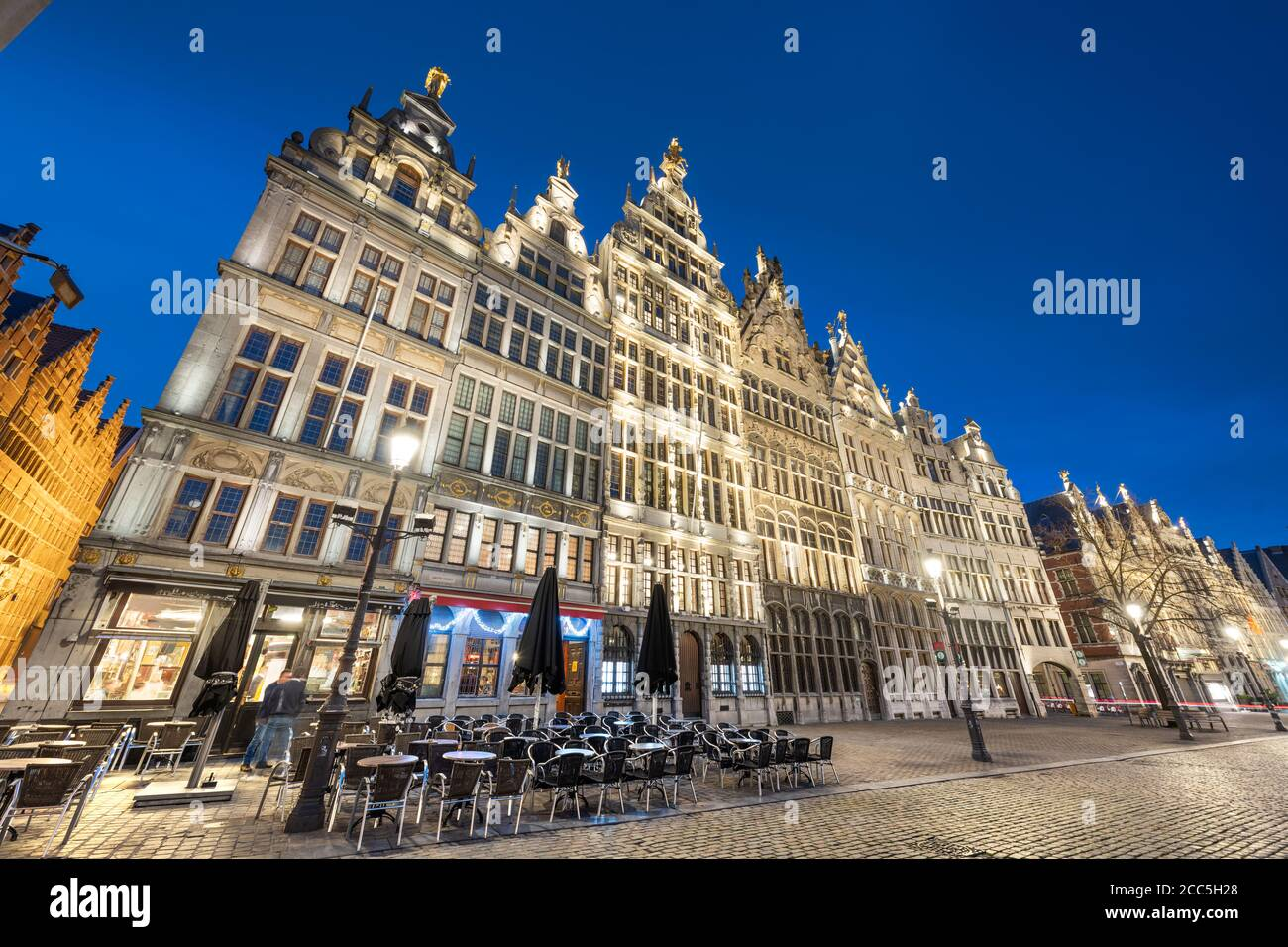 Grote Markt of Antwerp, Belgium at twilight. Stock Photo