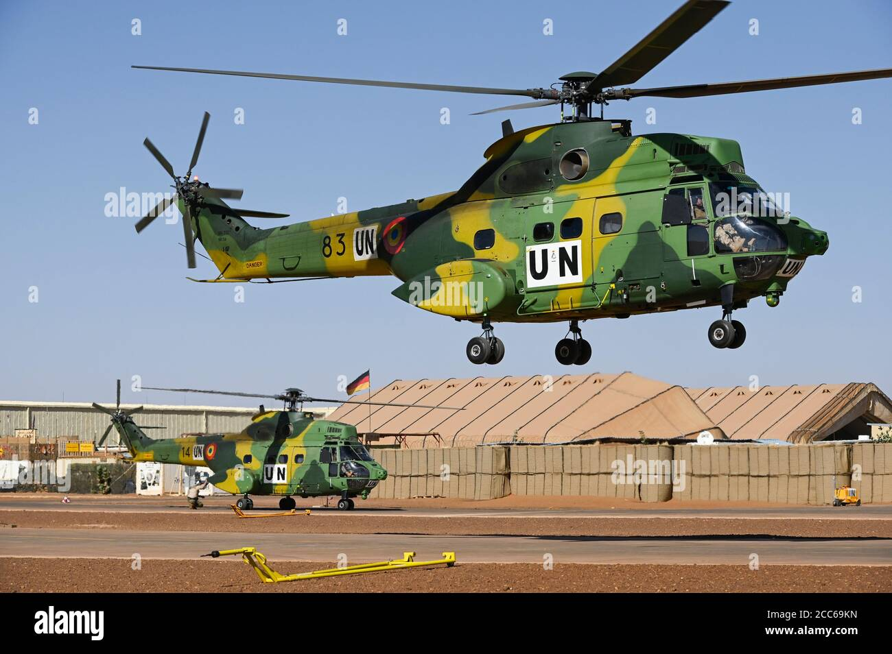 MALI, Gao, Minusma UN mission, Camp Castor, camp leaded by german Bundeswehr, Helicopter unit of Romanian Pumas for paramedic rescue flights, Helicopter IAR-330 Puma L-RM Stock Photo