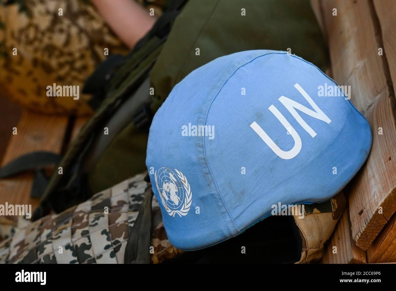 MALI, Gao, Minusma UN peace keeping mission, Camp Castor, german army Bundeswehr, blue helmet of UN / Blauhelm der UNO Stock Photo