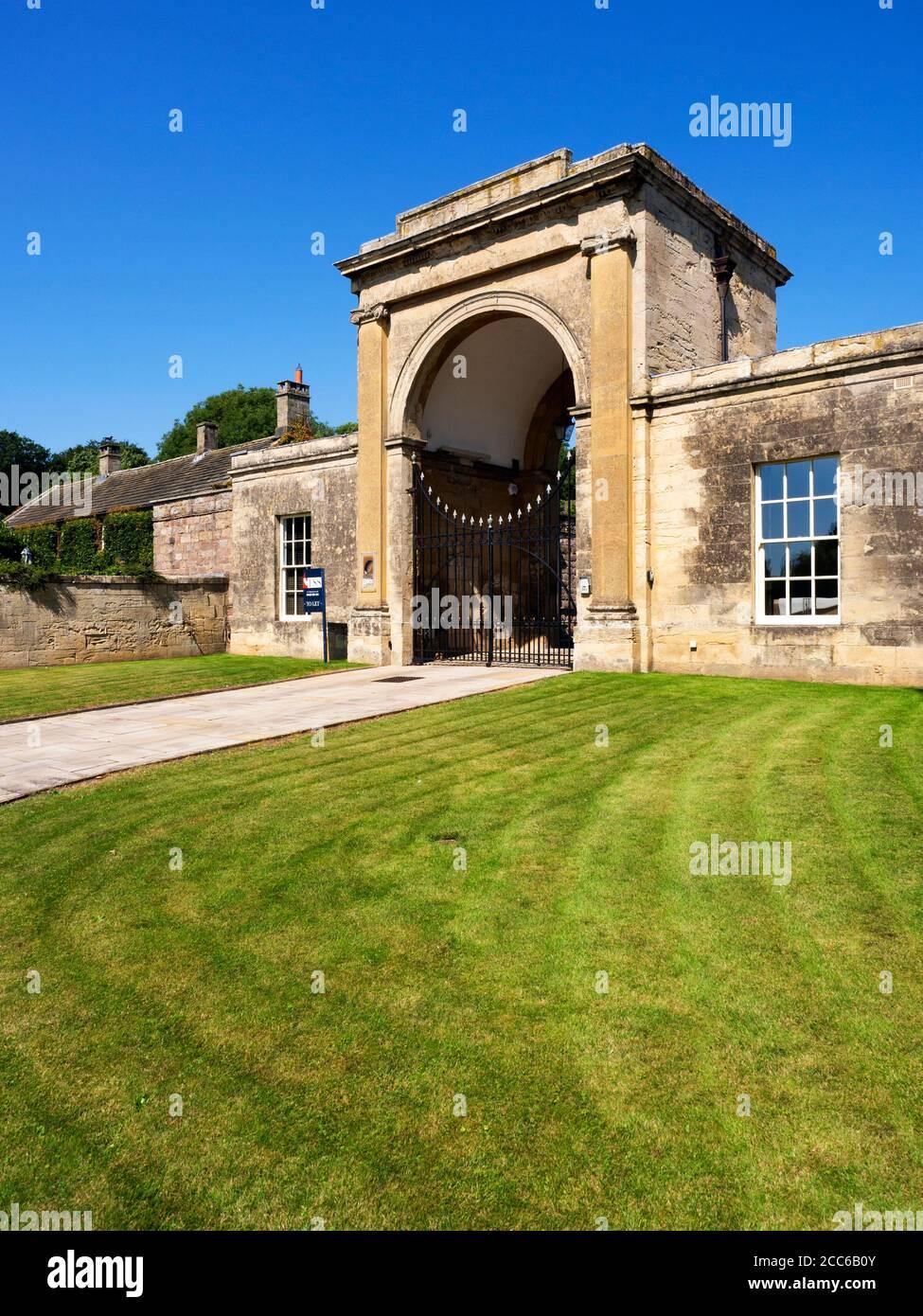 Rudding Gates former entrance to Rudding Park Estate in Follifoot near Harrogate North Yorkshire England Stock Photo