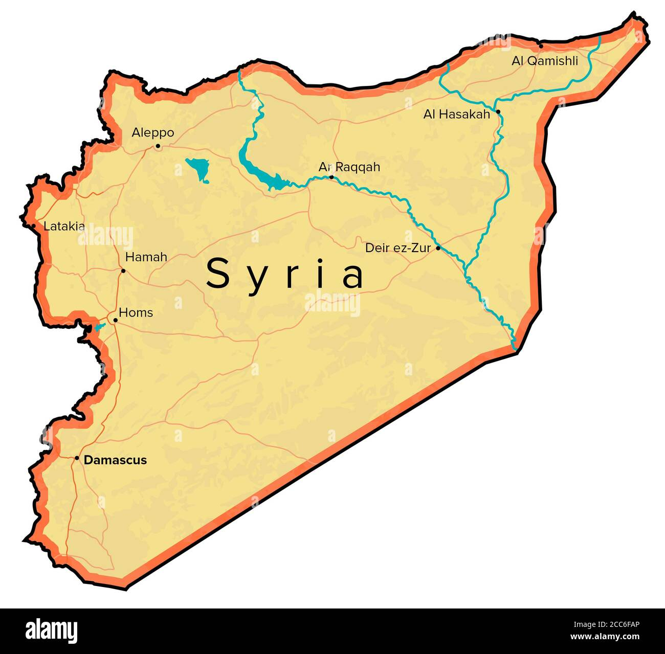 Image of: Syria Map Rivers Roads And Cities Hand Drawn Map Middle East Cartography Stock Photo Alamy