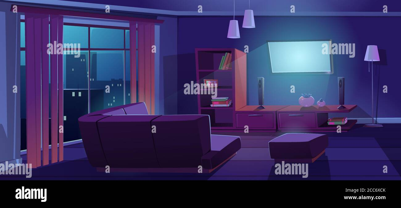 Living Room Interior With Tv And Sofa Back View At Night Dark Apartment With Corner Couch