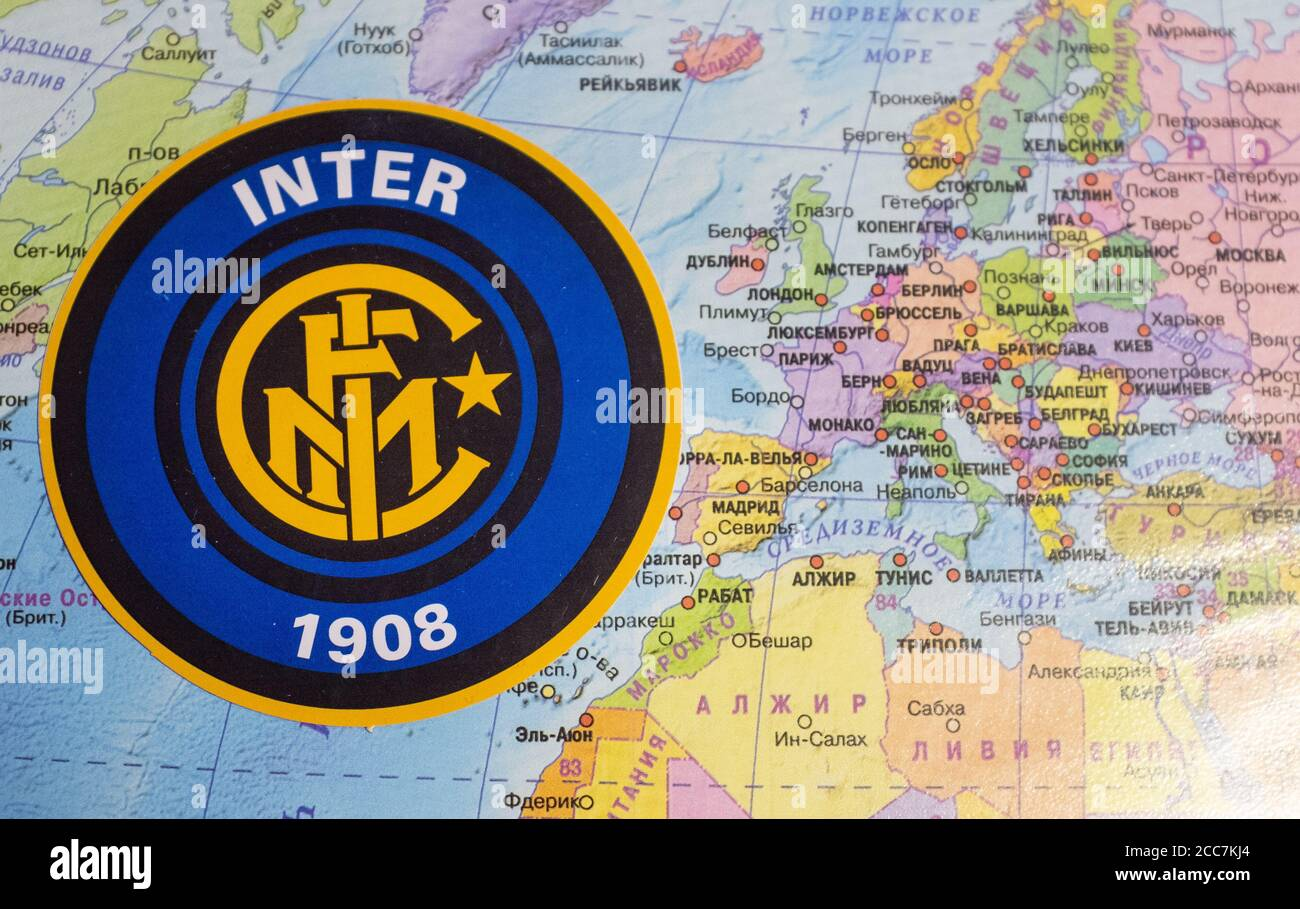August 20 2020 Cologne Germany The Emblems Of The 2019 2020 Europa League Inter Milan Against The Background Of The Europe Map Stock Photo Alamy