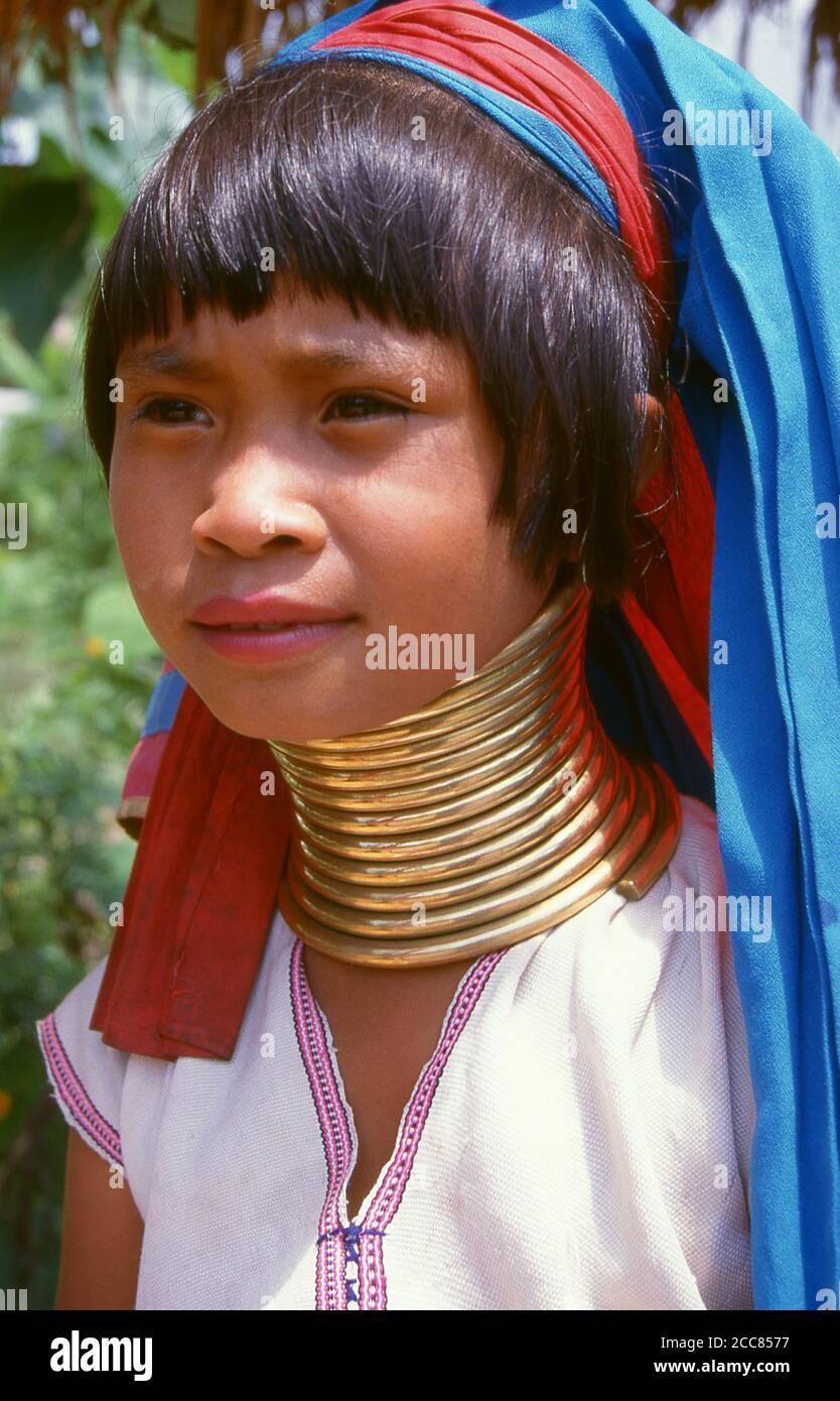 Thailand: Padaung (Long Neck Karen) girl, Chiang Mai Province, northern Thailand. The Padaung or Kayan Lahwi or Long Necked Karen are a subgroup of the Kayan, a mix of Lawi, Kayan and several other tribes. Kayan are a subgroup of the Red Karen (Karenni) people, a Tibeto-Burman ethnic minority of Burma (Myanmar). Stock Photo