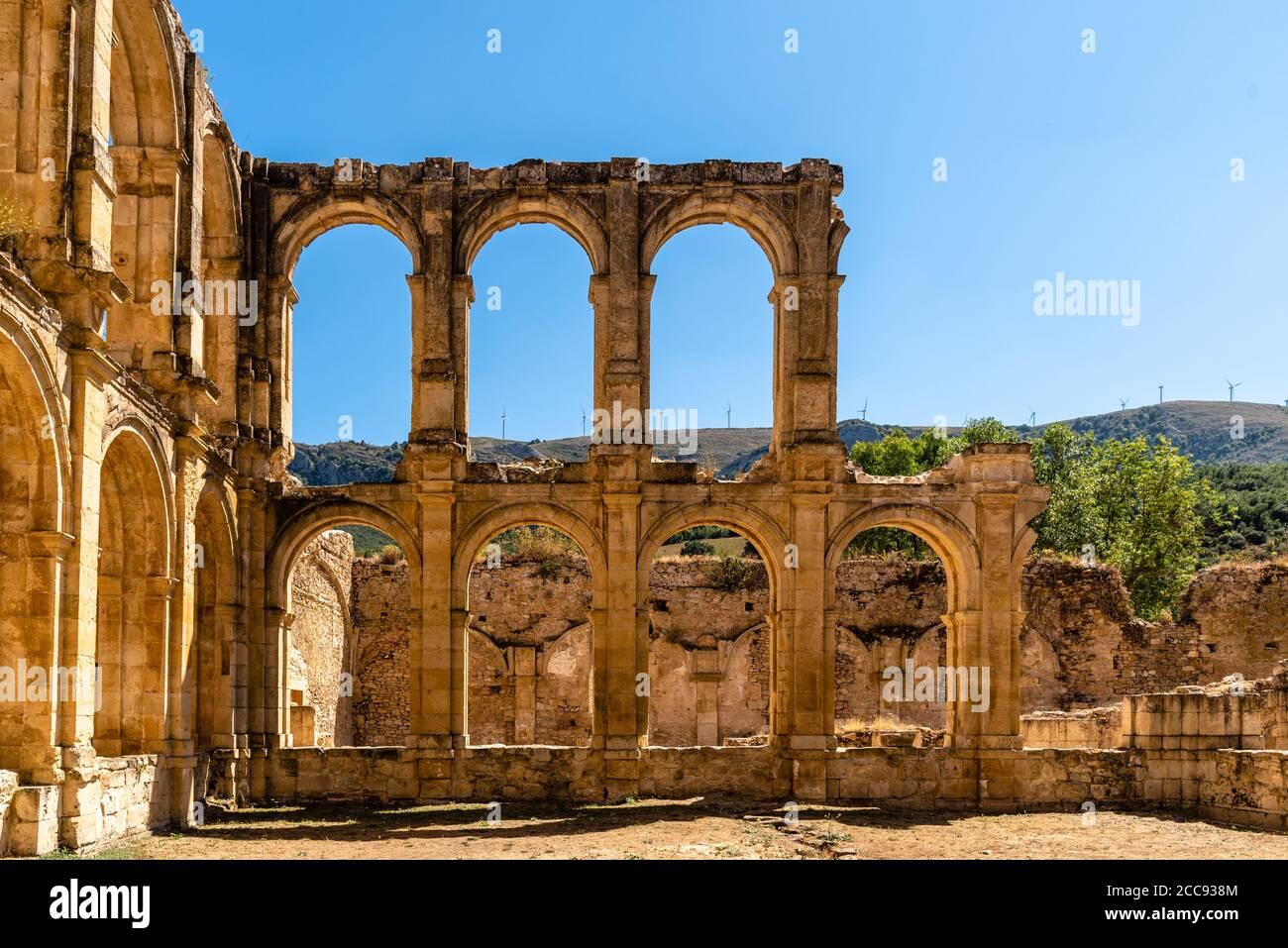 View of the ruins of an ancient abandoned monastery in Santa Maria de Rioseco, Burgos, Stock Photo