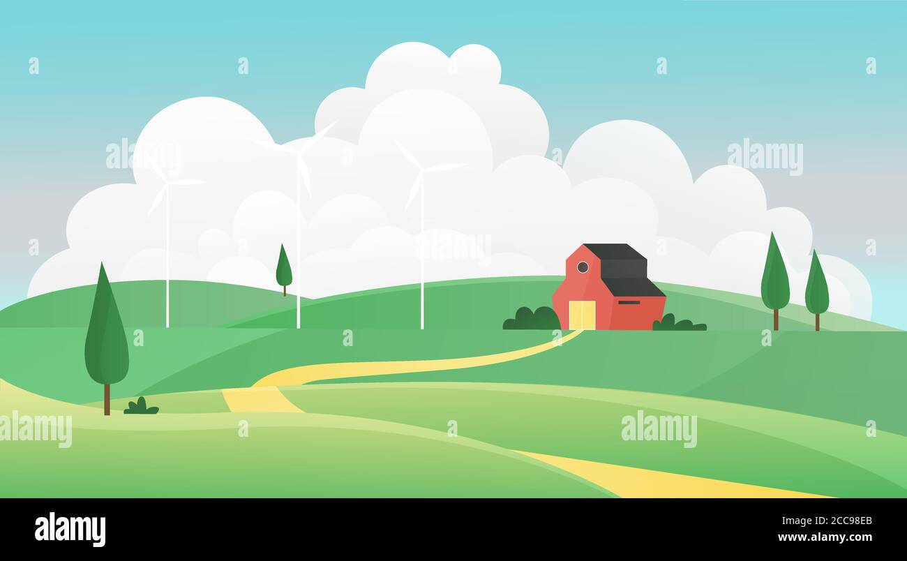 Farm And Grassland Stock Vector Images Alamy