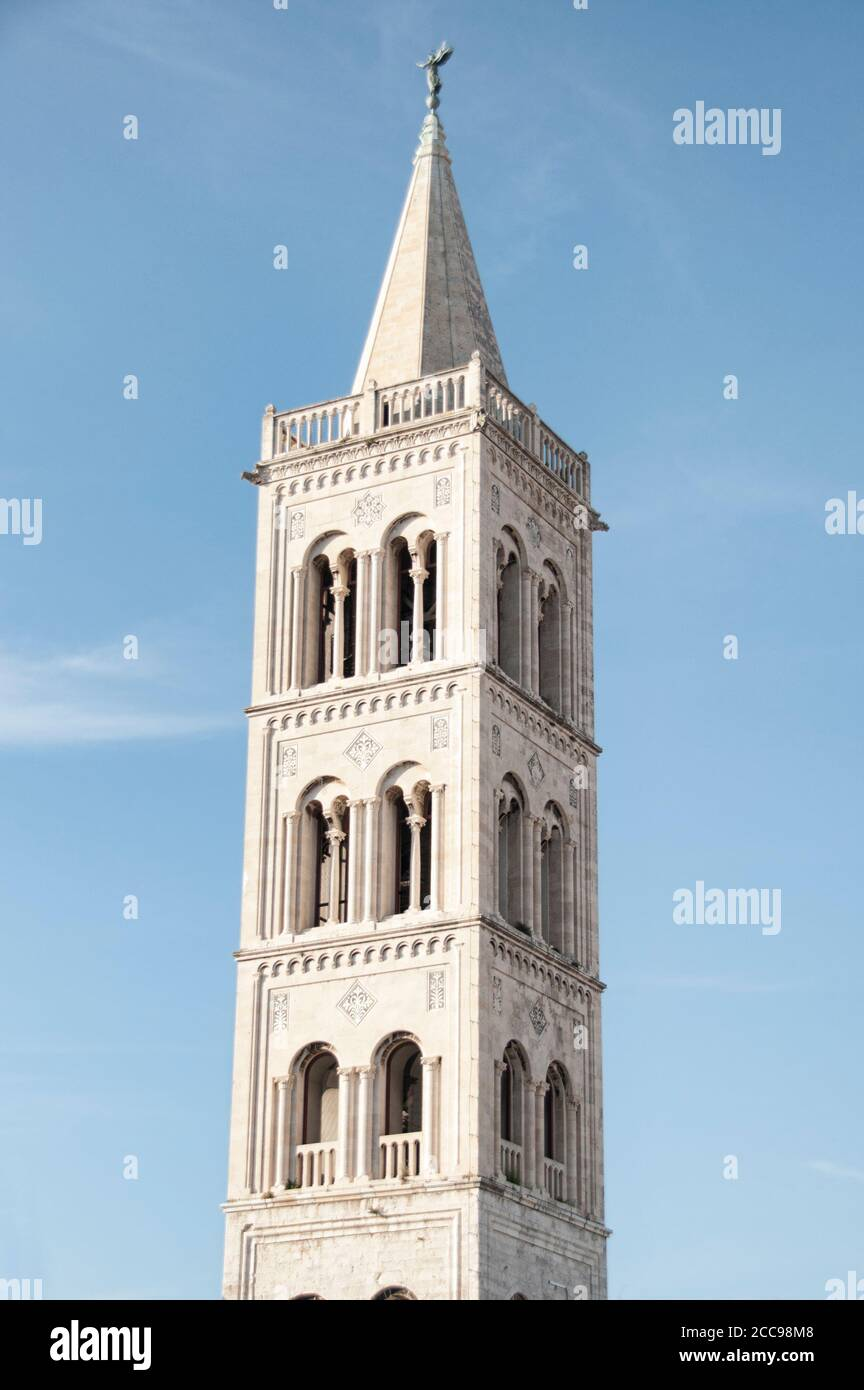 Belfry of the church of St. Donatus located in Zadar, Croatia Stock Photo