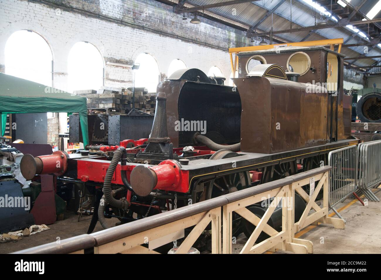 LB&sCR A1 Class A1/X Locomotive under restoration in the workshop at the Spa Valley Railway Kent ( August 2020 ) The London, Brighton and South Coast Stock Photo