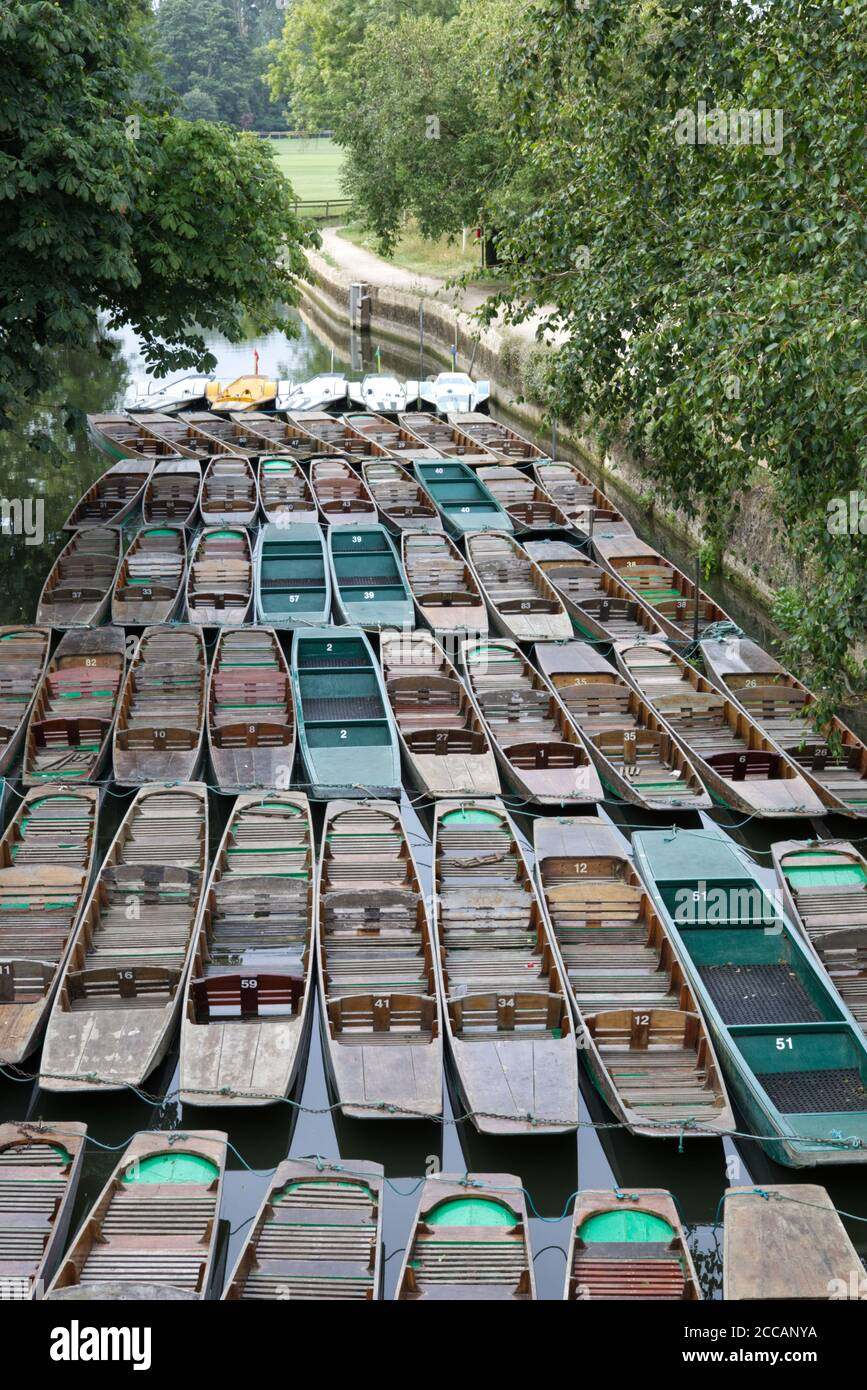 punts moored on the river in Oxford Stock Photo