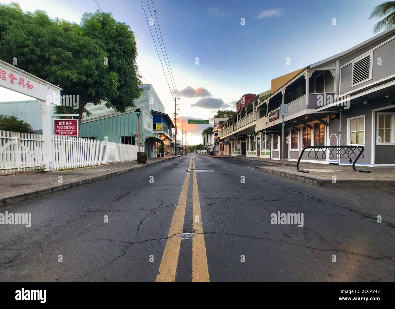 Deserted streets and shopping area in Lahaina during Covid 19 pandemic. Stock Photo