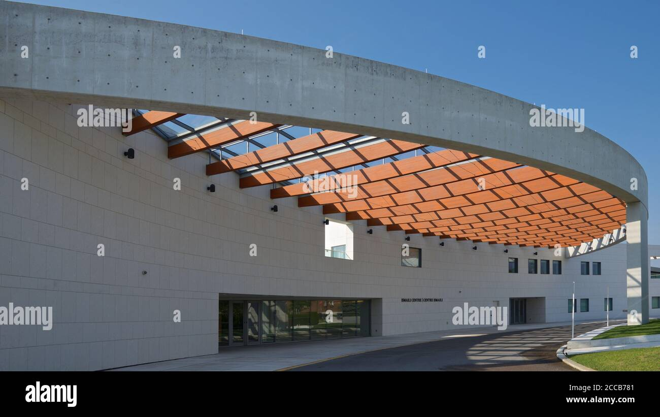 Modern design building exterior with curve line building feature. Stock Photo