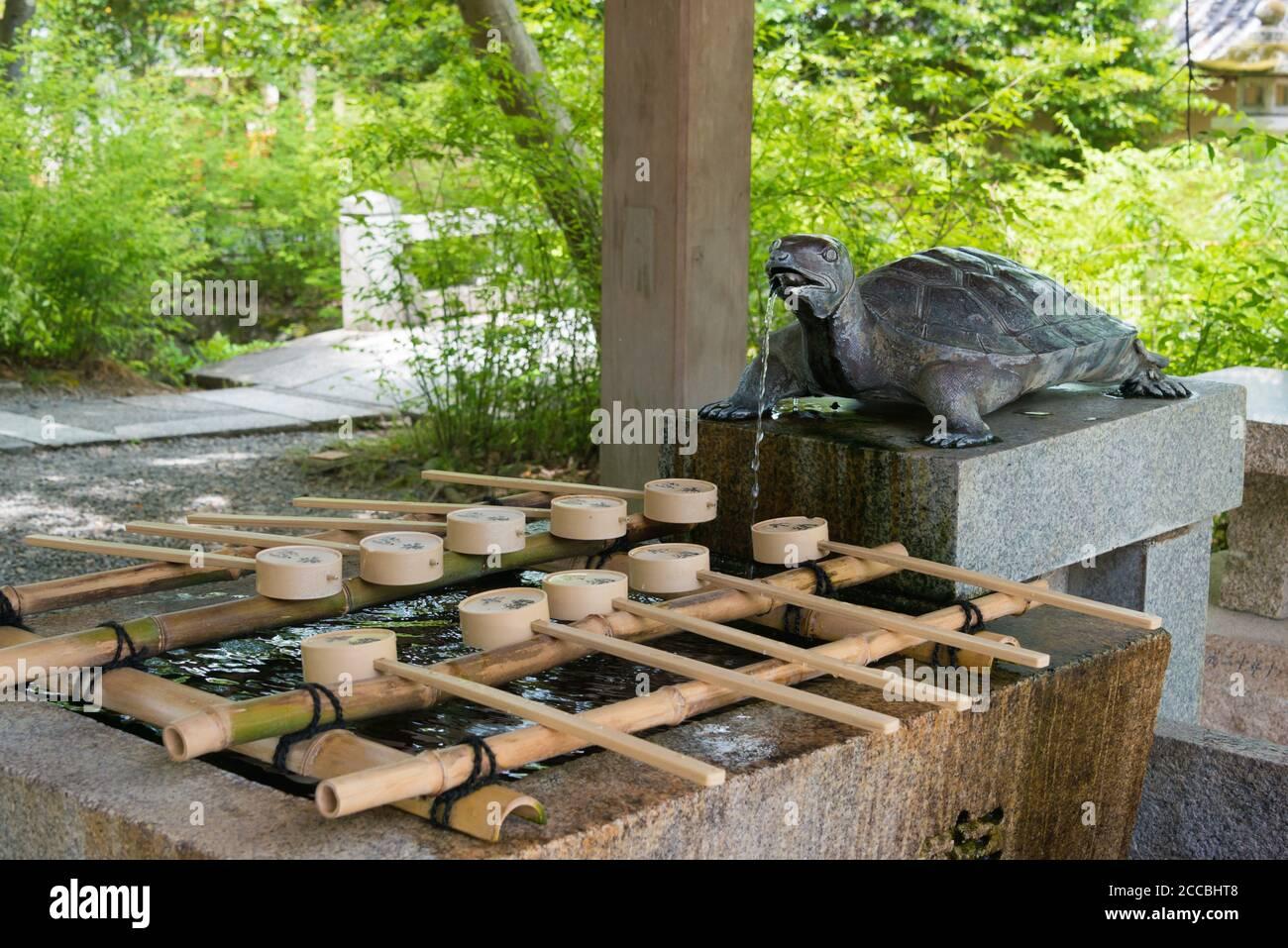 Kyoto, Japan - Matsunoo-taisha Shrine in Kyoto, Japan. it's said Matsuno'o Taisha was founded in 701. Stock Photo