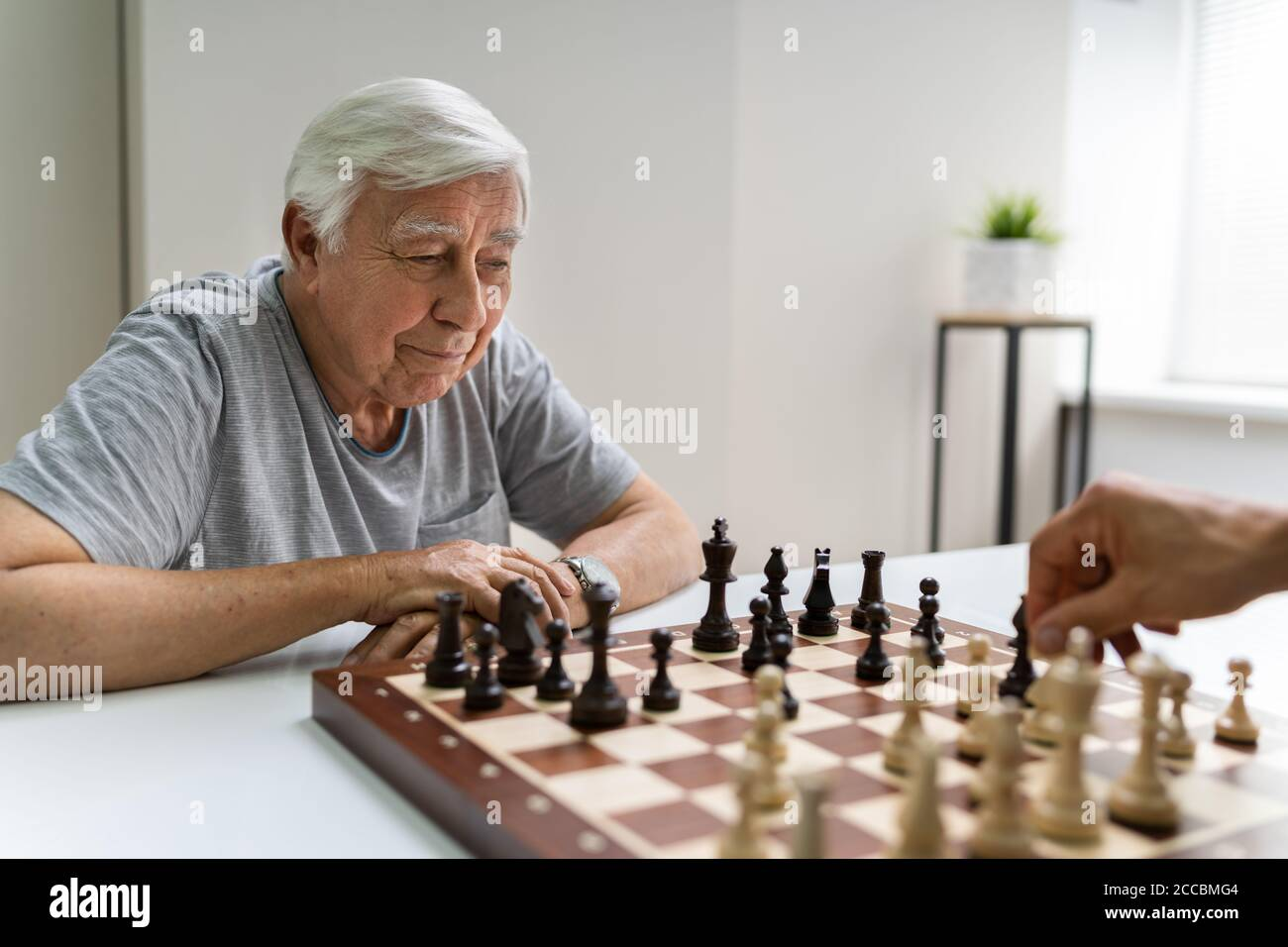 Elderly Senior Playing Chess Table Board Game Stock Photo Alamy