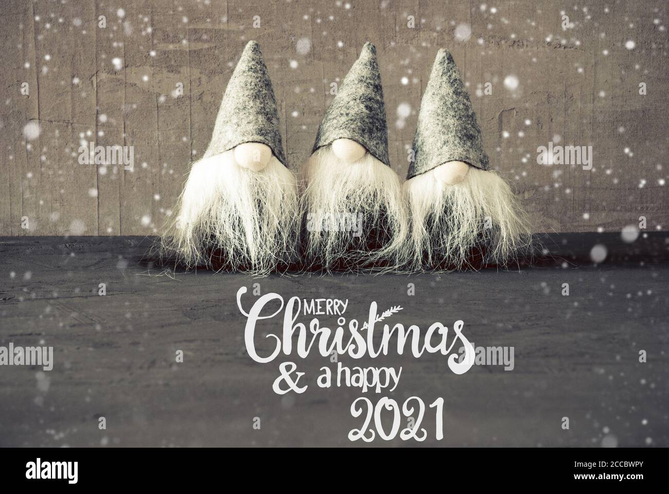 Merry Christmas 2021 Pictures Gray Santa Claus Cement Background Snowflakes Merry Christmas And A Happy 2021 Stock Photo Alamy