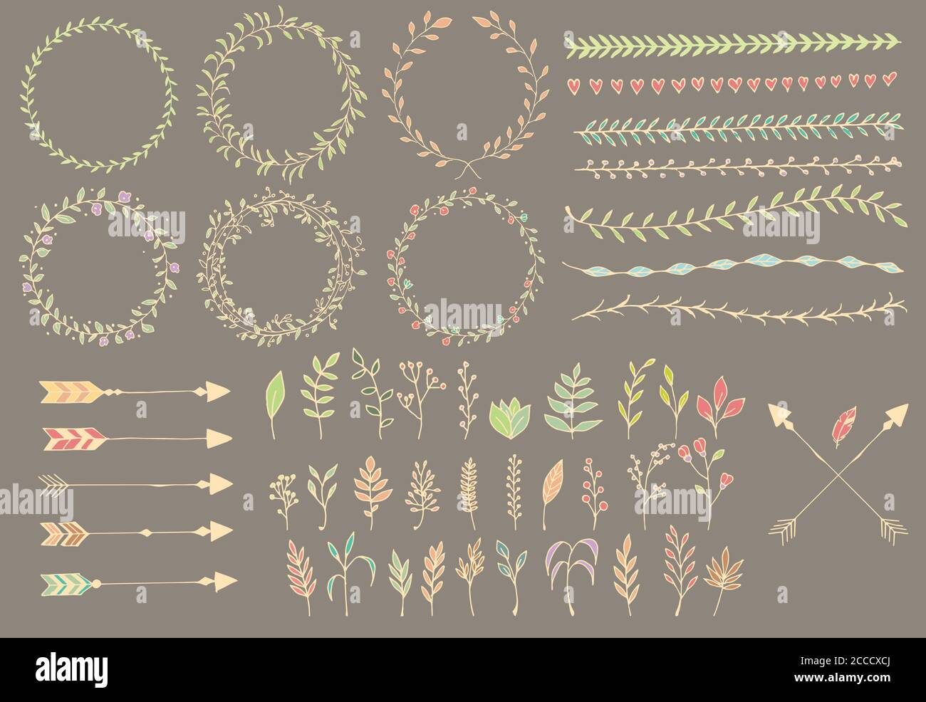 Hand Drawn Vintage Arrows Feathers Dividers And Floral Elements Vector Illustration Stock Vector Image Art Alamy