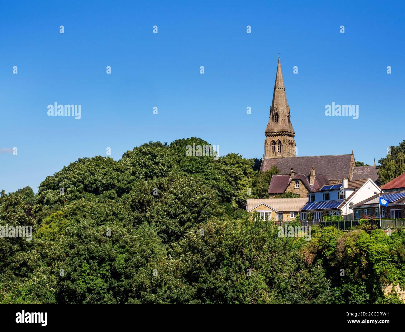 Church of the Holy Trinity viewed from Crag Lane in Knaresborough North Yorkshire England Stock Photo