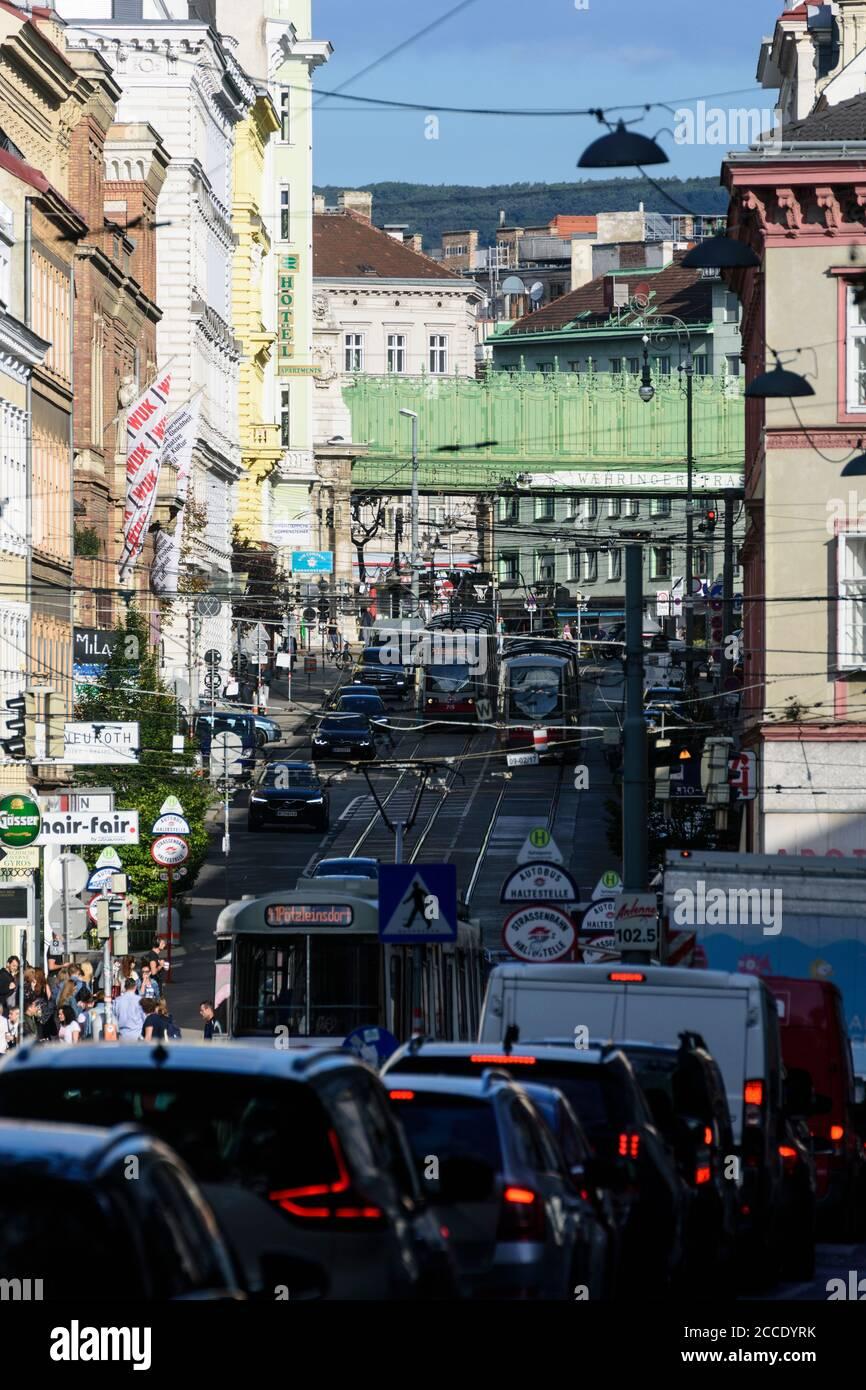 Vienna, street Währinger Strasse, streetcar, cars, subway line 6, traffic jam, Austria, Vienna, 09. Alsergrund Stock Photo