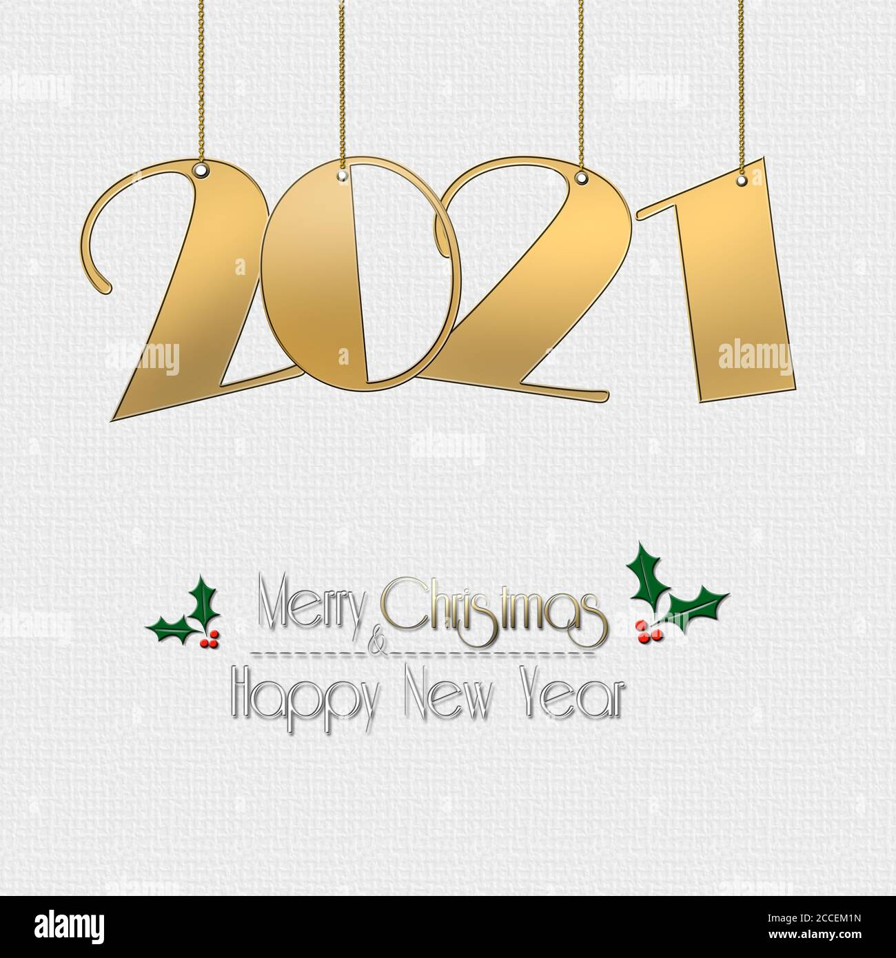 Hanging Banner Images Merry Christmas & Happy New Year 2021 Minimalist Happy New 2021 Year And Christmas Design With Hanging Gold 2021 Digit On White Background Text Merry Christmas Happy New Year With Holly Leaves 3d Illustration Stock Photo Alamy