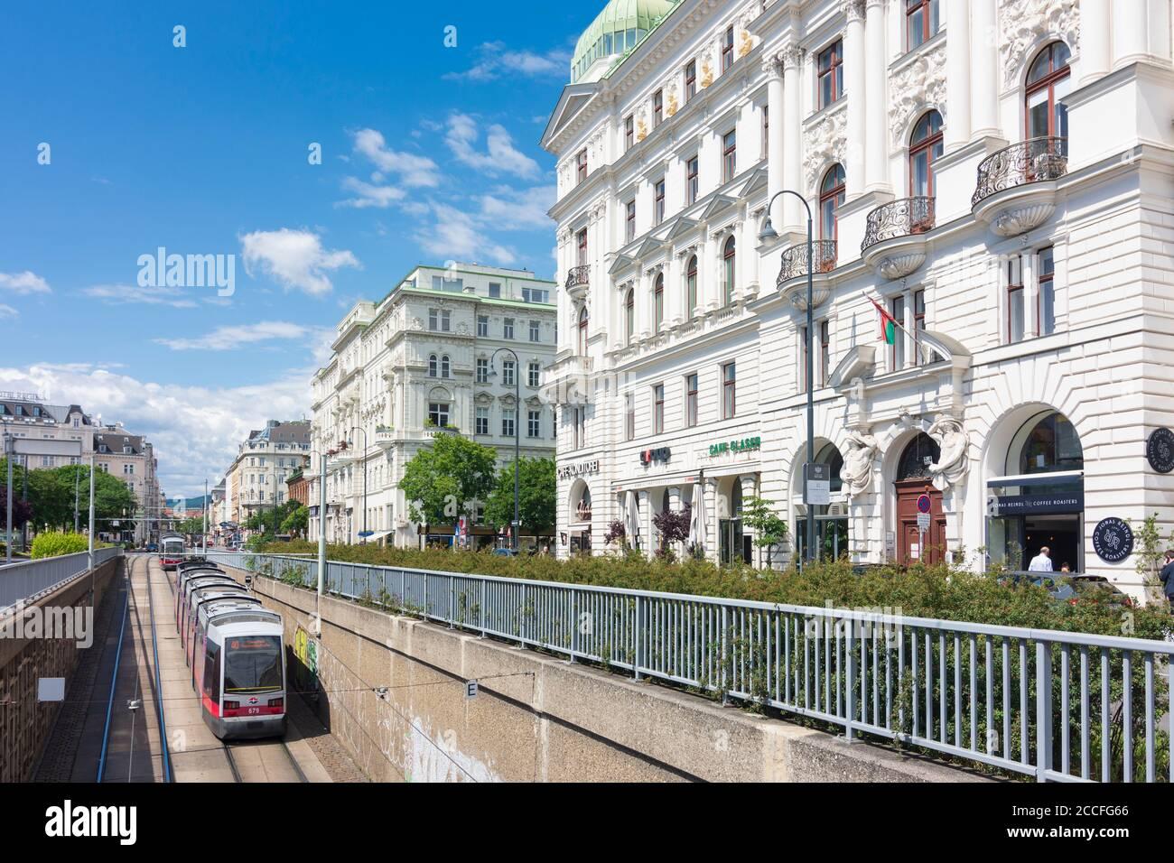 Vienna, house Maria-Theresien-Hof  at street Währinger Strasse 2, streetcar in 01. Old Town, Wien, Austria Stock Photo