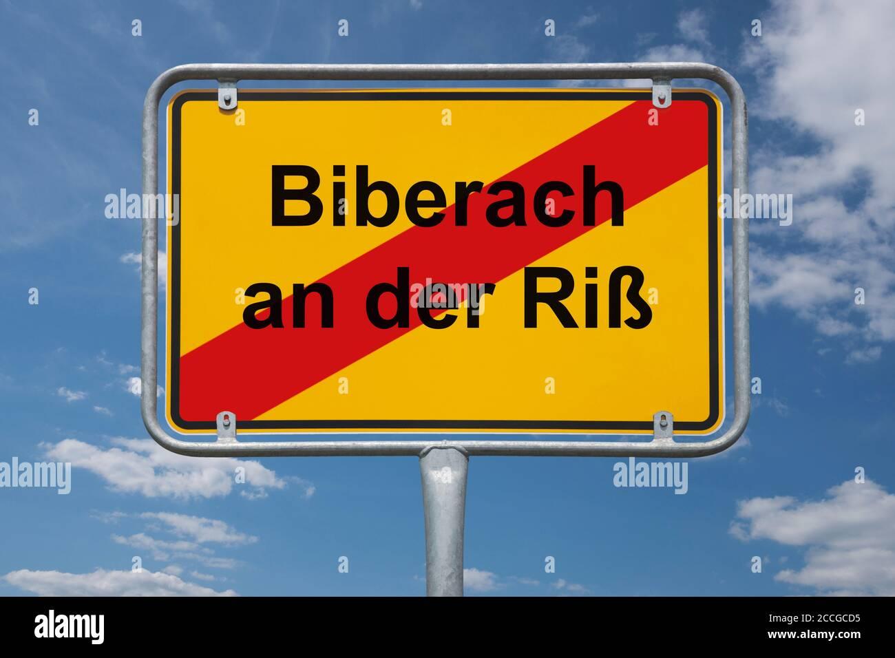 Ortstafel Biberach an der Riß, Baden-Württemberg, Deutschland | Place name sign Biberach an der Riß, Baden-Württemberg, Germany, Europe Stock Photo