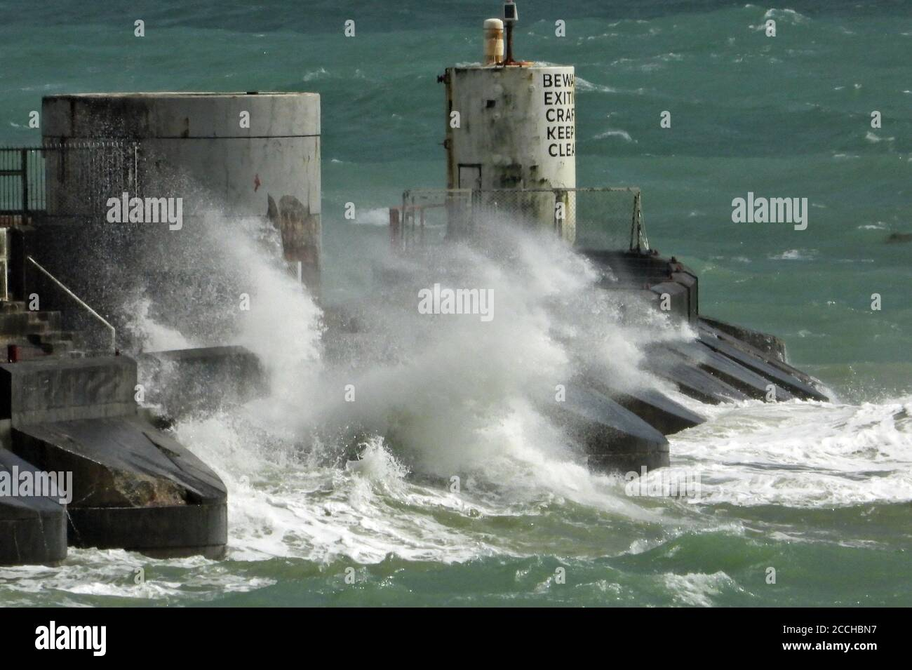 Brighton's Marina Sussex 22nd August 2020 Big  waves crashing against the Marina's walls during winds gusting at 50 MPH. Credit: Leo Mason sports/Alamy Live News Stock Photo