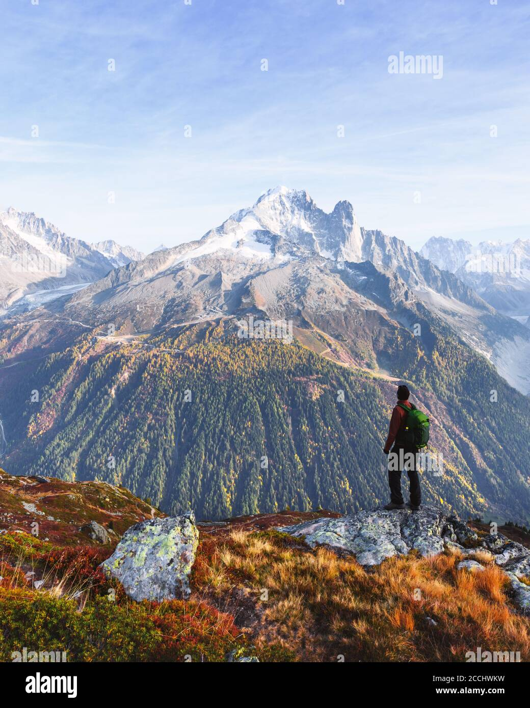 Amazing view on Monte Bianco mountains range with tourist on a foreground. Chamonix, France Alps. Landscape photography Stock Photo