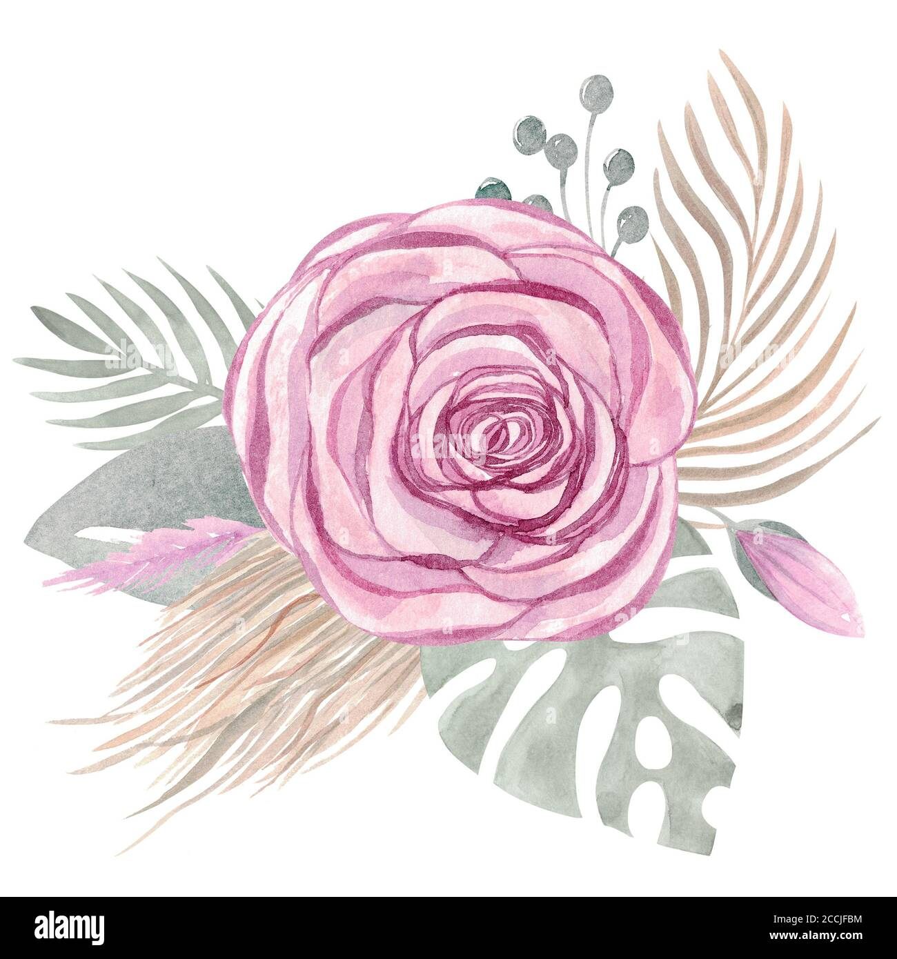 Watercolor Illustration Of A Boho Bouquet Of Tropical Leaves Flowers Roses Floral Arrangement Wedding Design Stock Photo Alamy