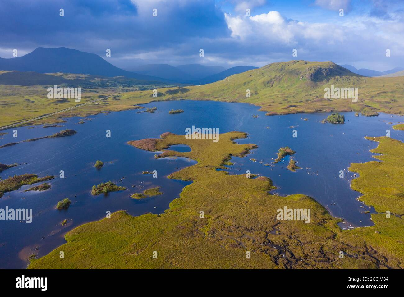 Aerial view of Lochan na h-Achlaise on Rannoch Moor in summer, Scotland, UK Stock Photo