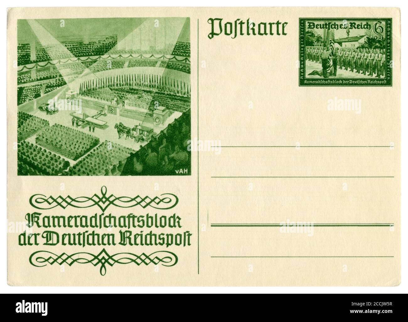 German historical postal card: Comradeship block of the German Reichspost, Meeting of postal service employees in the exhibition hall in Berlin, 1939 Stock Photo