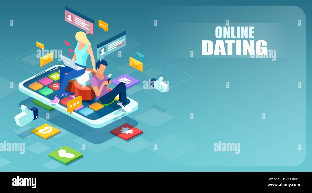 Online dating on social media platforms concept. Vector of a young man and woman using mobile app to chat with each other Stock Vector