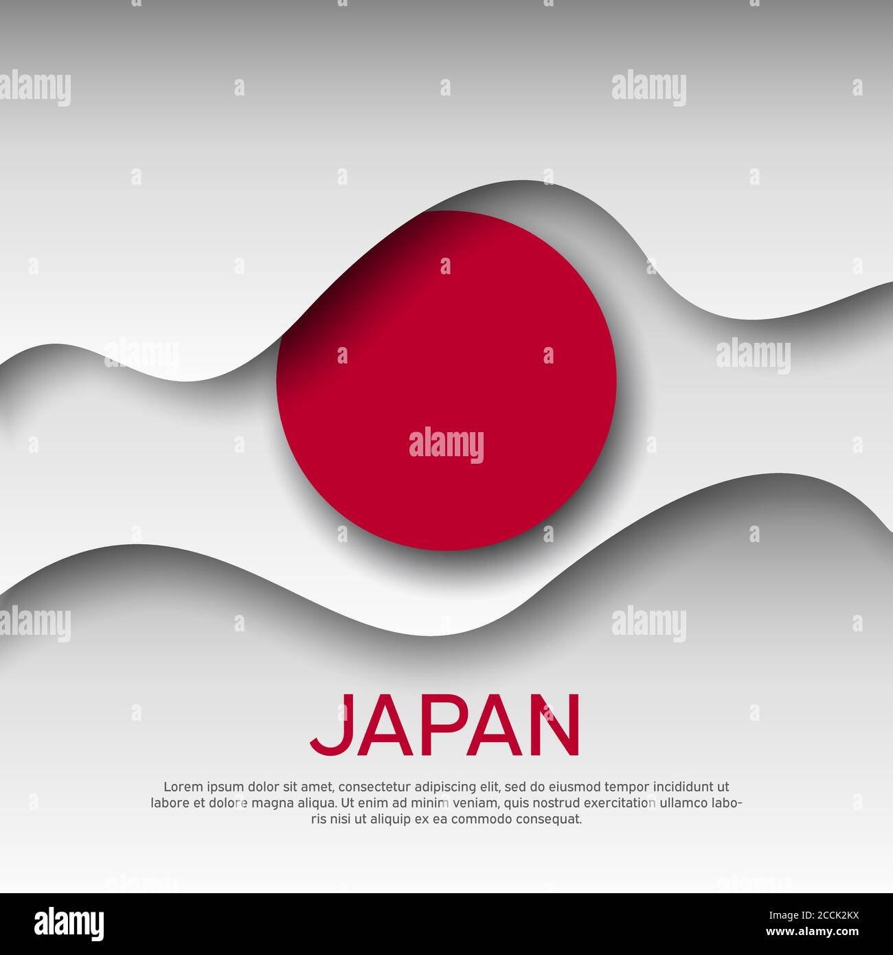 Japan Abstract Flag Background For Creative Design Graphic Wavy Japanese Background Pattern Cut Out Of Paper Japan Flag Vector Design For Poster Stock Vector Image Art Alamy