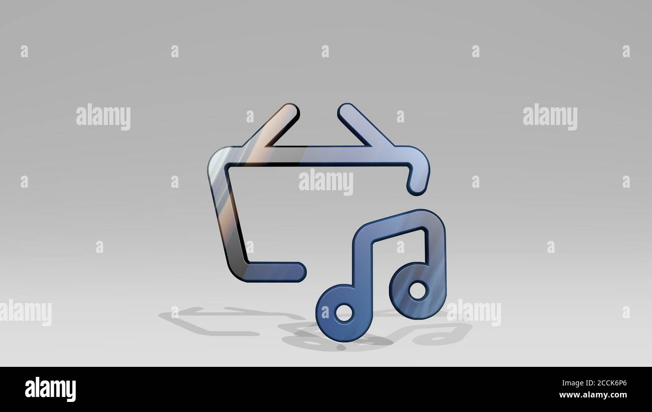 MUSIC BASKET BUY 3D icon standing on the floor, 3D illustration Stock Photo