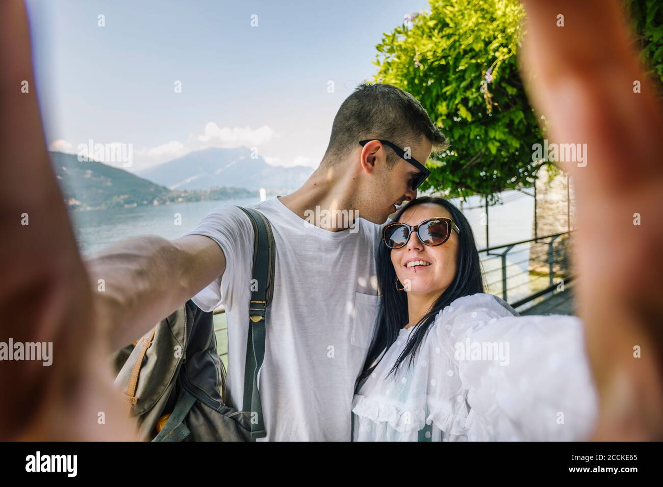 Happy young couple taking a selfie Stock Photo