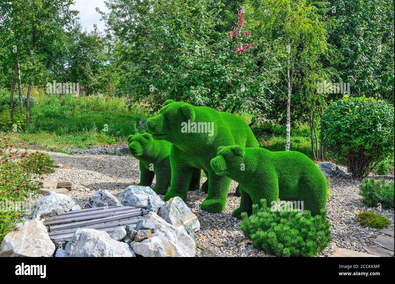 Green Sculptures Of Big And Two Small Bears Created From Artificial Grass Gardens Topiary Creative Idea For Landscape Design Stone Garden Dwarf M Stock Photo Alamy