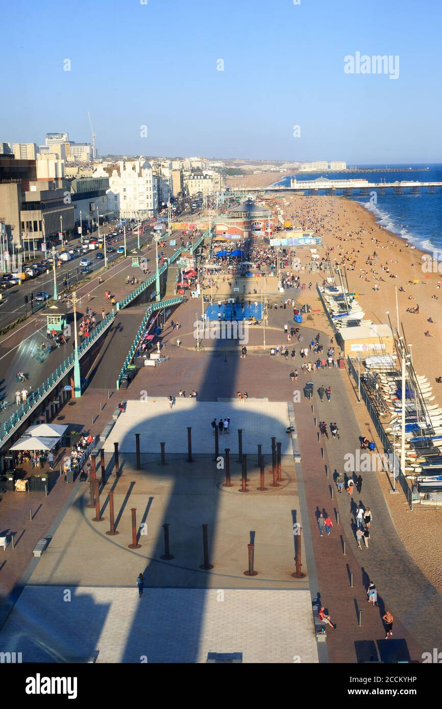 I360 Tower, Brighton, UK. View from the top of the tower overlooking Brighton Esplanade with reflection of tower on the ground below Stock Photo