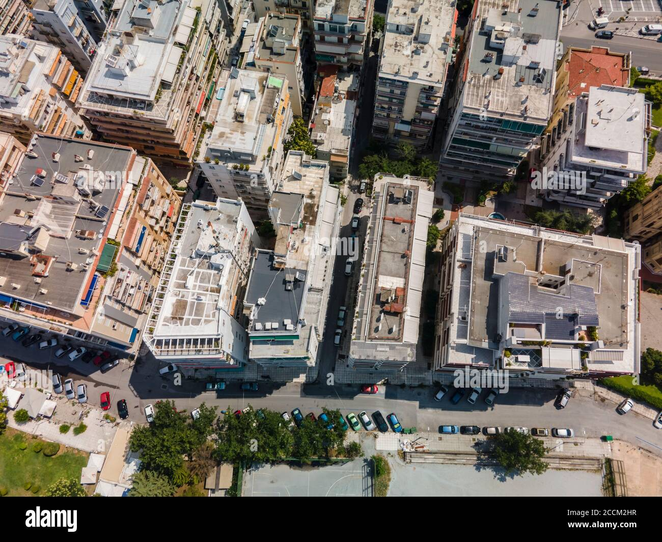 Thessaloniki, Greece aerial drone landscape view of Analipsi borough buildings rooftops. Day top panorama of European city with residential flats. Stock Photo