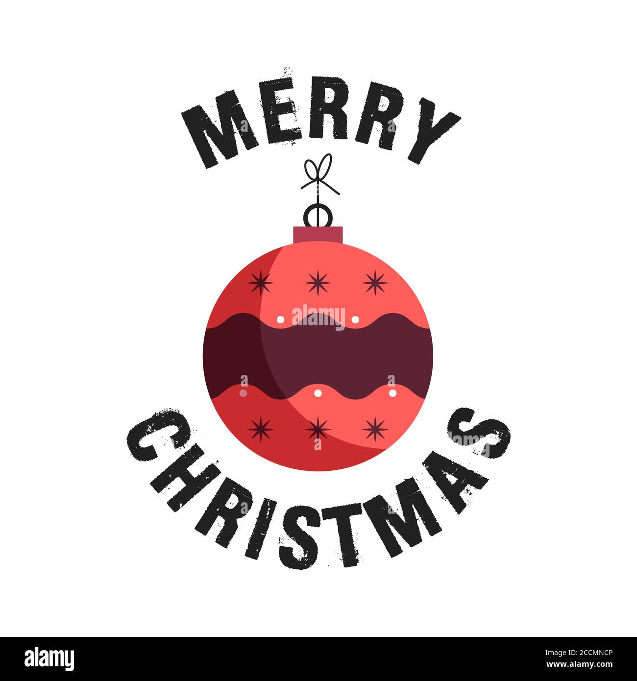 Merry Christmas badge design with xmas ball toy. Xmas typography emblem label llustration. Stock vector print for t shirt, logotype, cards Stock Vector