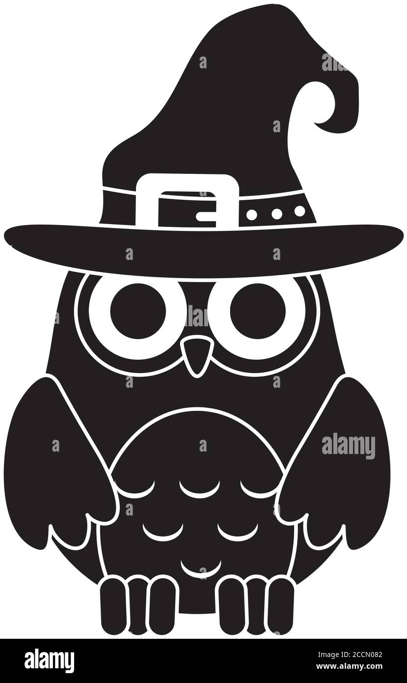 Happy Halloween Cute Owl With Witch Hat Trick Or Treat Party Celebration Silhouette Icon Vector Illustration Stock Vector Image Art Alamy