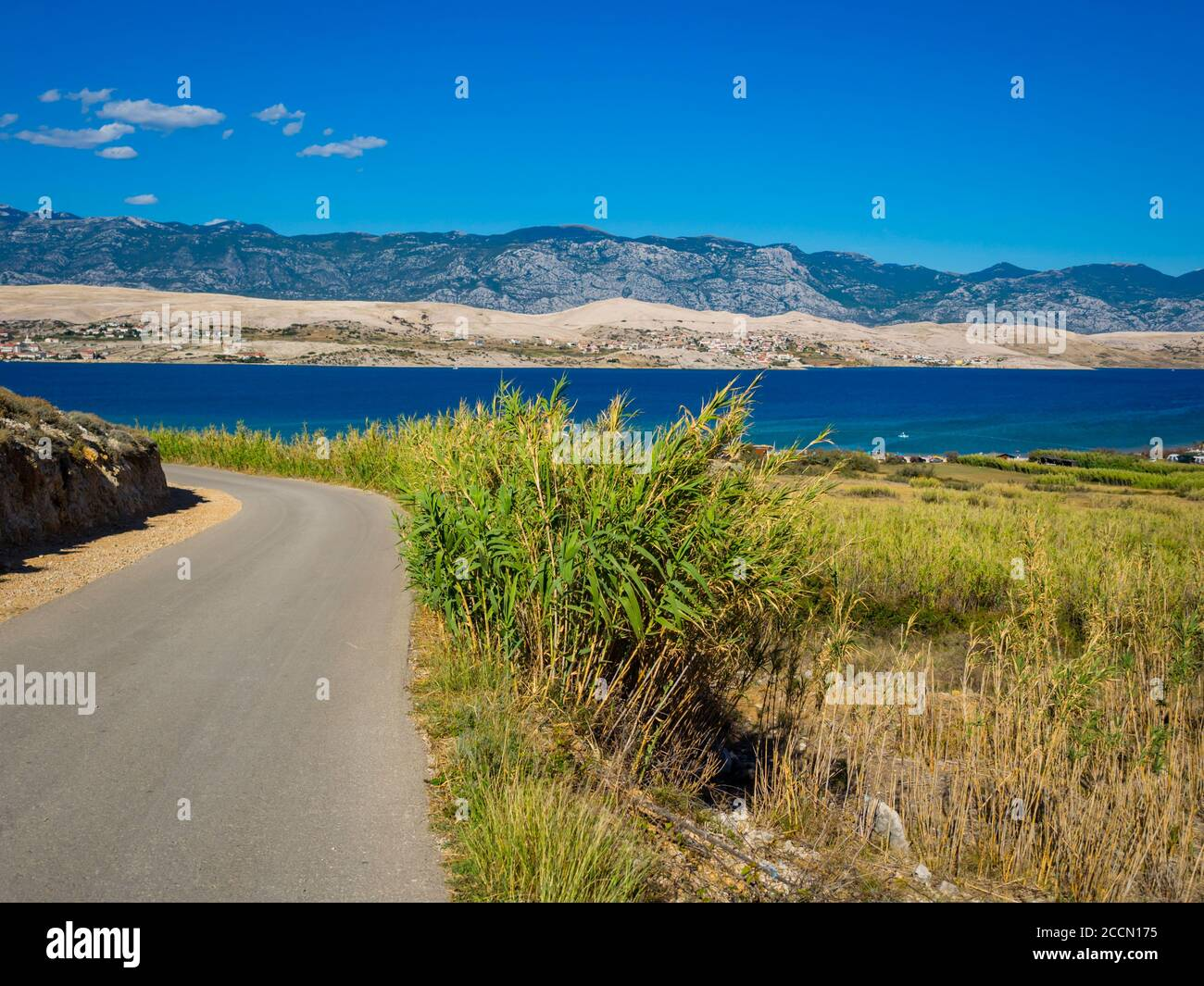 Beautiful view atop Sv. duh on island Pag in Croatia Europe Stock Photo