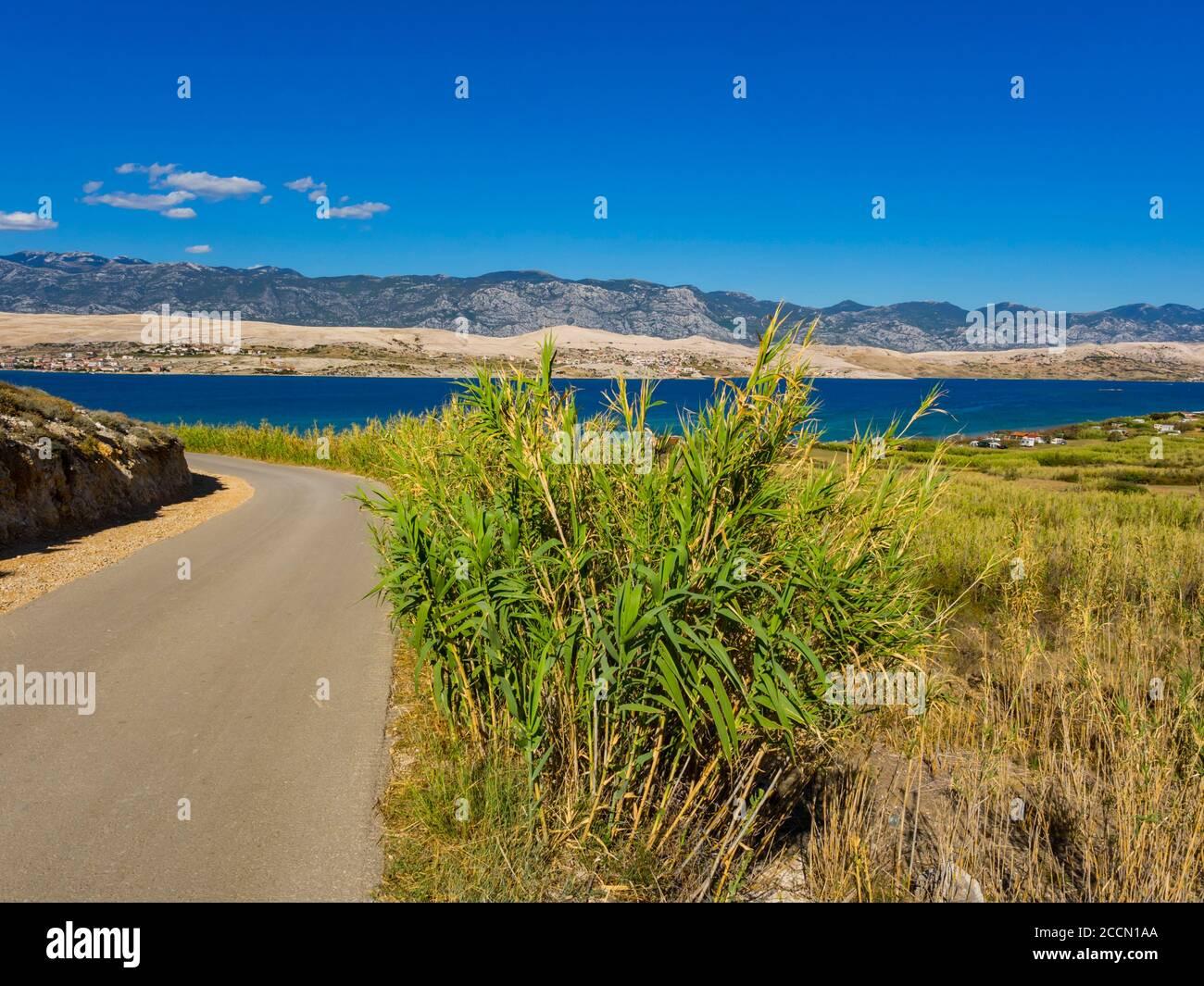 Beautiful view atop Sv. duh on island Pag in Croatia Europe Stock Photo