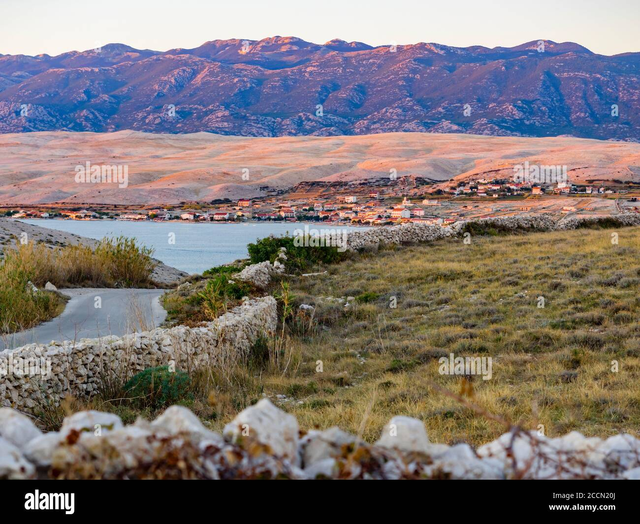 Late afternoon beautiful view atop Sv. duh on island Pag in Croatia Europe Stock Photo