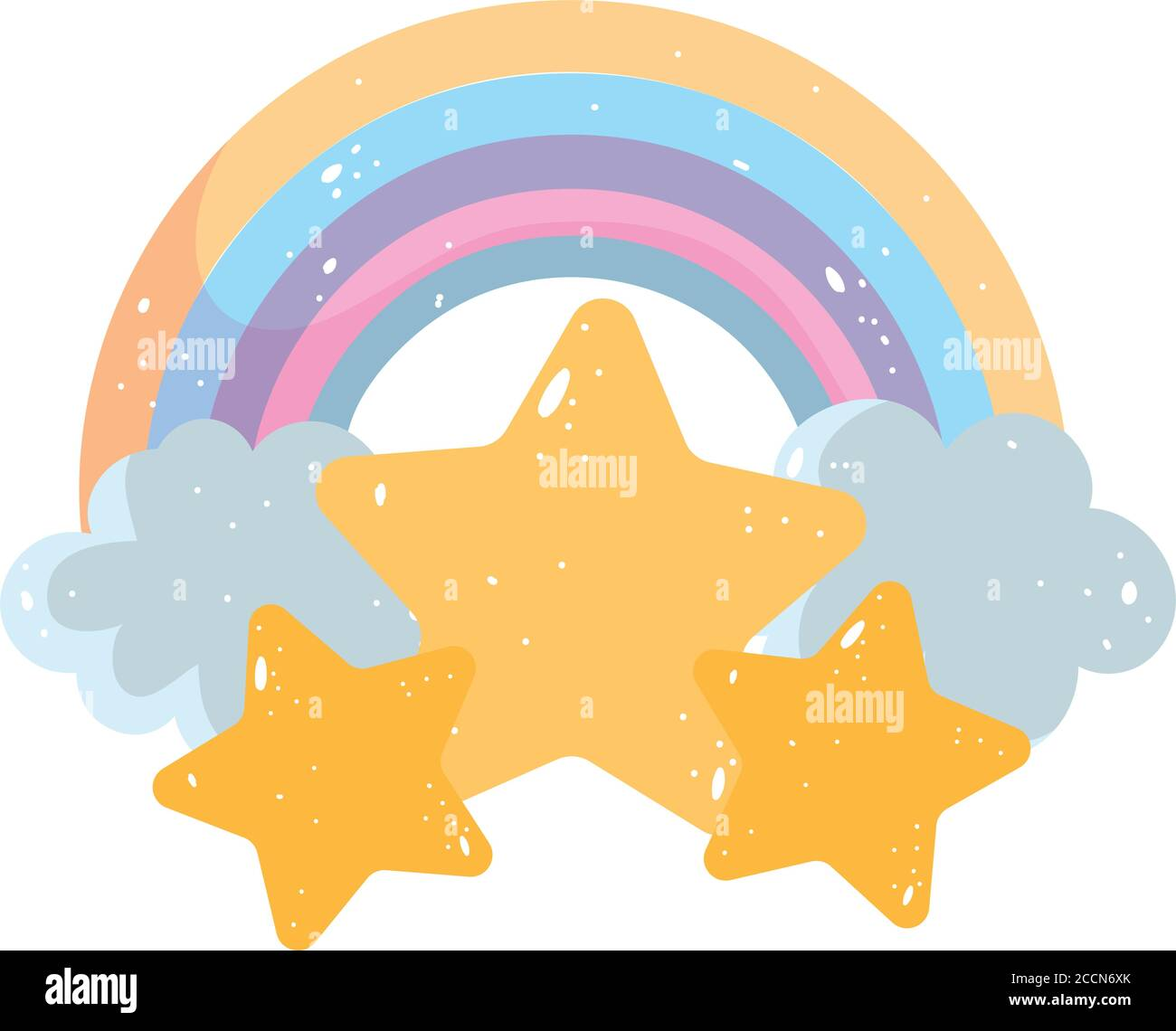 rainbow clouds stars cartoon isolated icon design over wihte background vector illustration Stock Vector