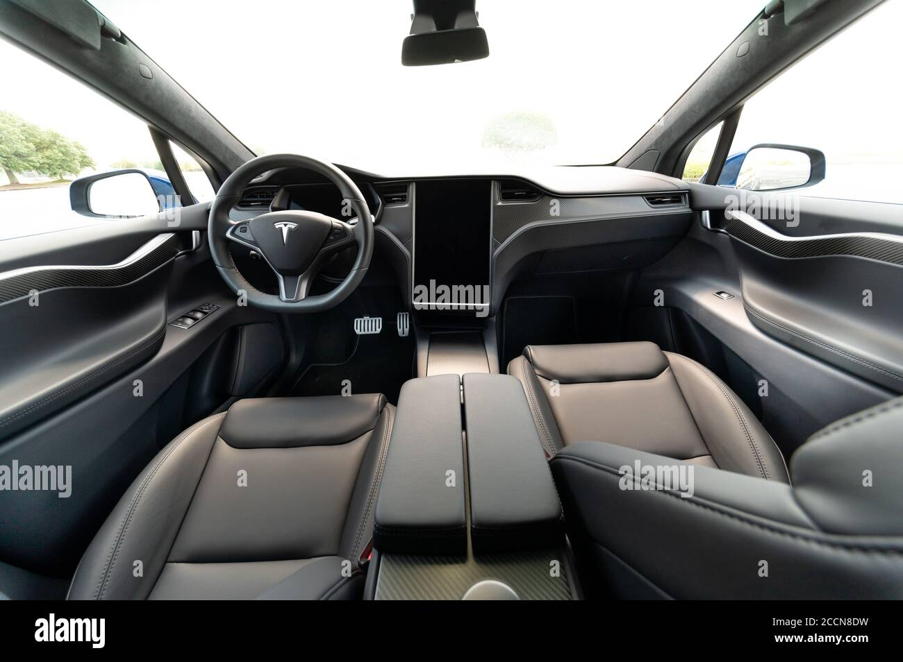 The Interior Of A Full Sized All Electric Luxury Crossover Suv Tesla Model X Black And Grey Stock Photo Alamy