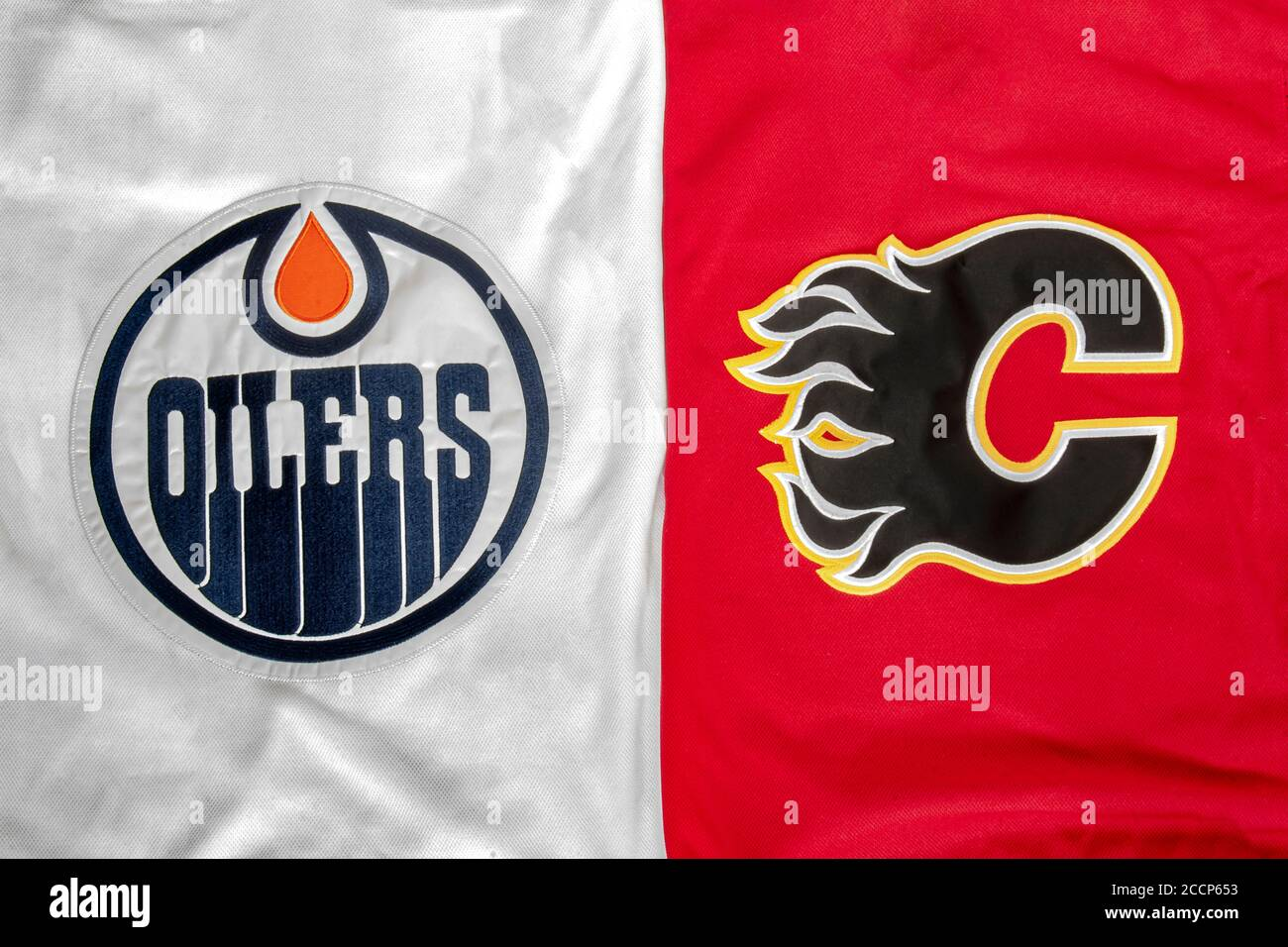 Calgary Alberta Canada Aug 23 2020 A Close Up To A Nhl Edmonton Oilers Vs Calgary Flames Hockey Jersey Stock Photo Alamy