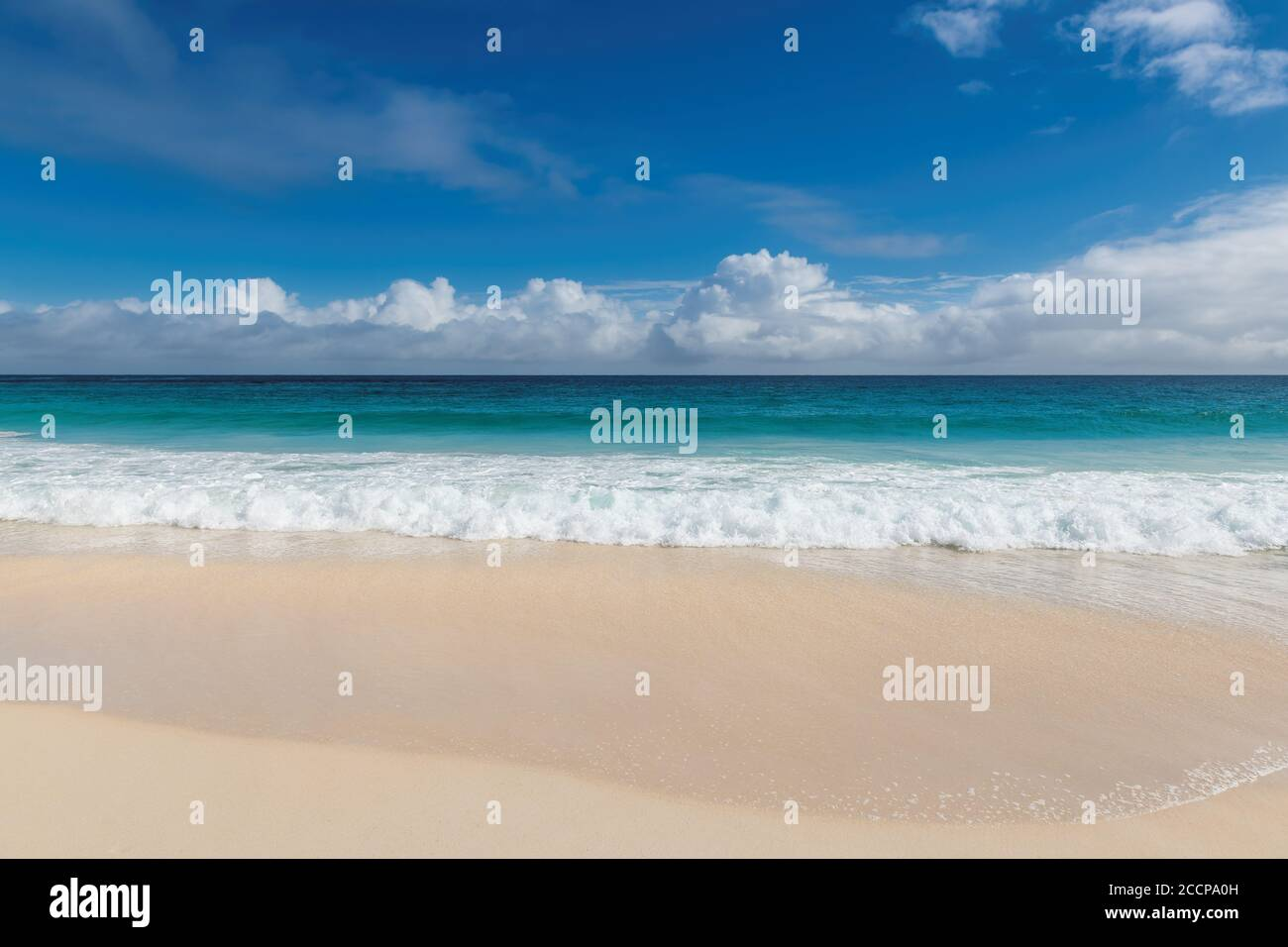 Paradise beach with white sand and paradise sea. Summer vacation and tropical beach concept. Stock Photo