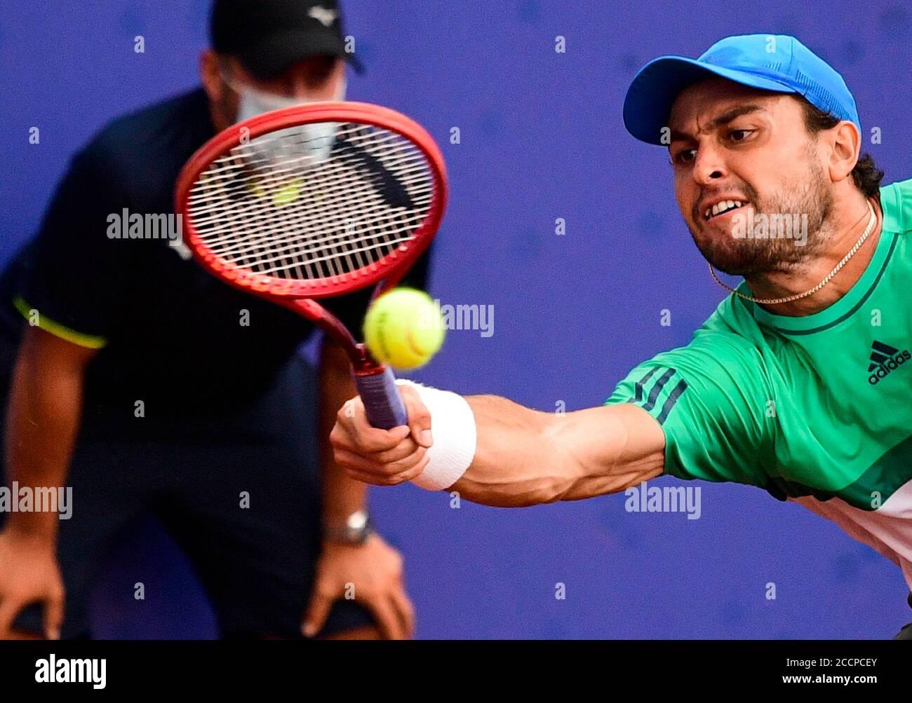 Prague, Czech Republic. 22nd Aug, 2020. Russian tennis player Aslan Karatsev  in action during the I. CLTK Prague Open of the ATP Challenger Tour match  against Swiss Stanislas