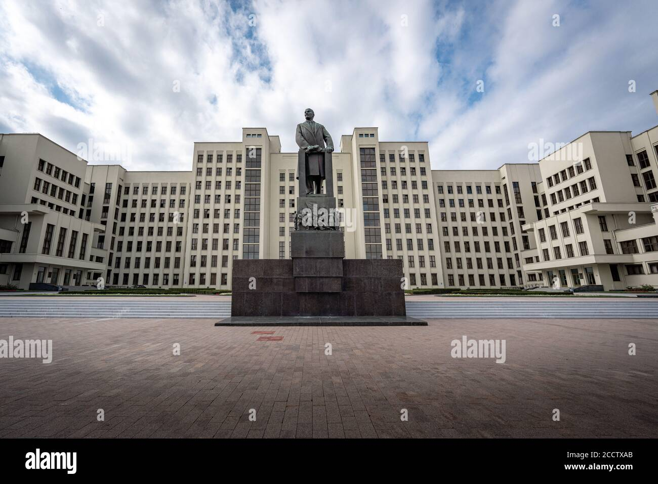 House of Government and Lenin Monument - Minsk, Belarus Stock Photo
